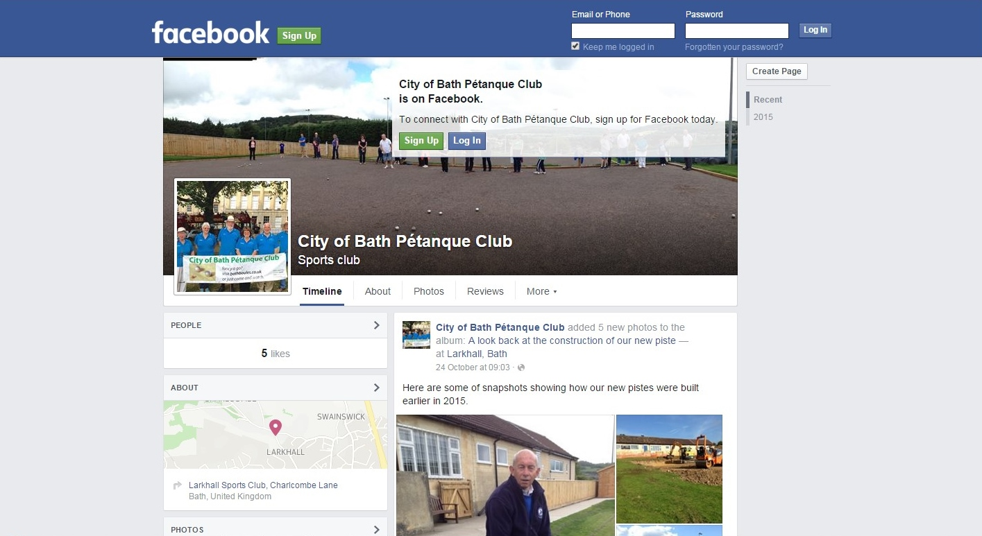 Facebook Page for City of Bath Boules Club